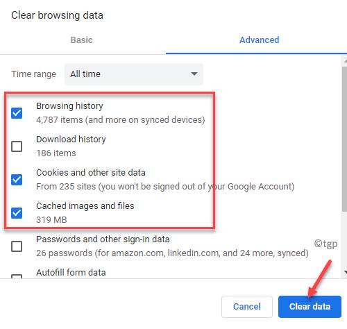 Borrar datos de navegación Historial de navegación avanzado, cookies y otros datos del sitio e imágenes en caché y verificación de archivos Borrar datos mín.