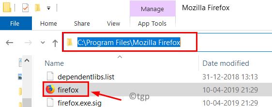 Ruta mínima de la aplicación Firefox