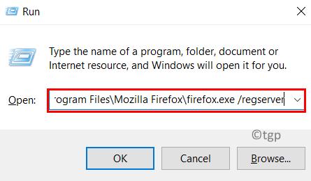 Ejecute Firefox Regserver Min