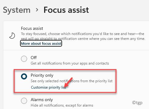 Solo prioridad de asistencia de enfoque del sistema Personalizar lista de prioridades Mín.