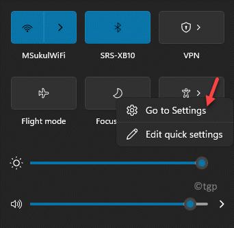Barra de tareas Centro de acción Icono de asistencia de enfoque Haga clic con el botón derecho en Ir a configuración