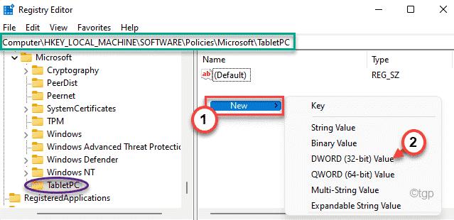 Nuevo valor de Dword Tabletpc Min