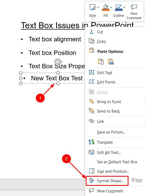 Text Box Format Shape Min