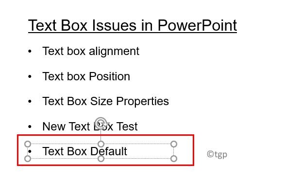 Insertar cuadro de texto después de configurar el mínimo predeterminado