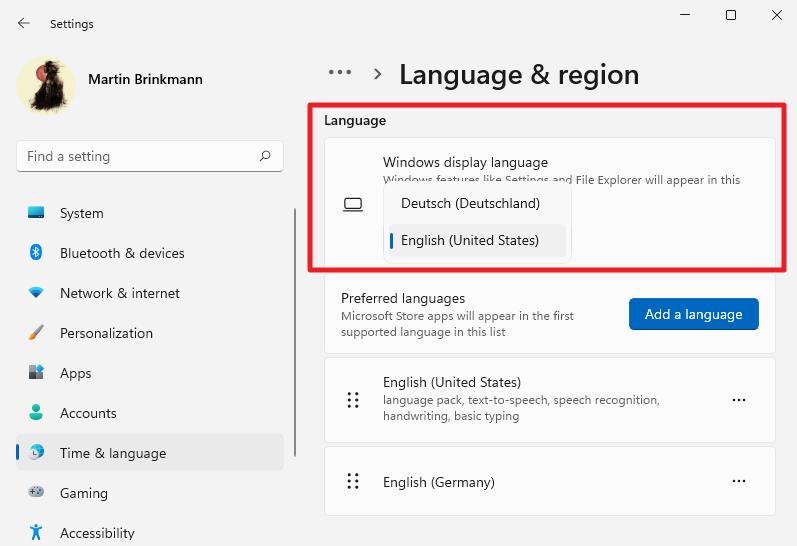 Windows 11 cambia el idioma de la interfaz