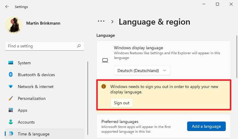 reiniciar Windows 11 para cambiar el idioma