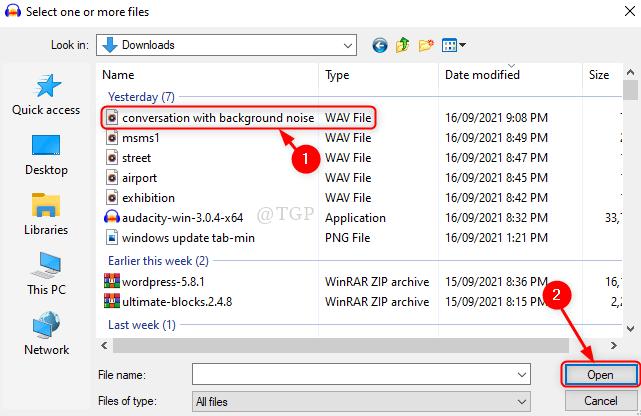 Seleccione el archivo de audio Audacity New Min