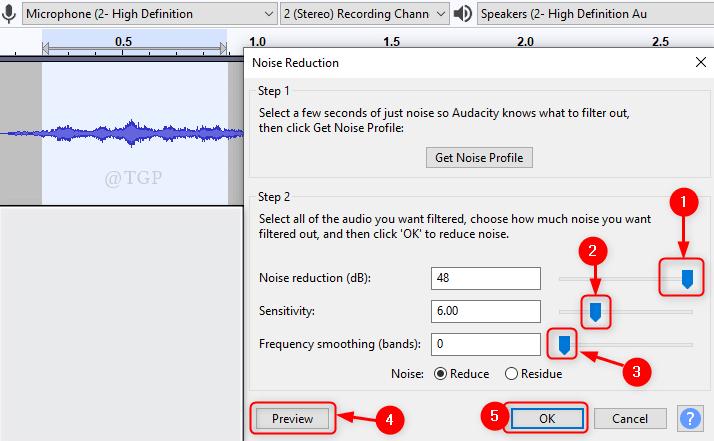 Reducción de ruido Nuevo mínimo