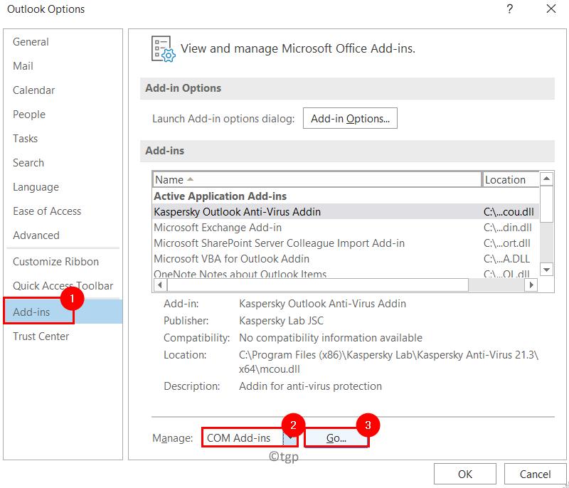 Opciones de Outlook Add Ins Min