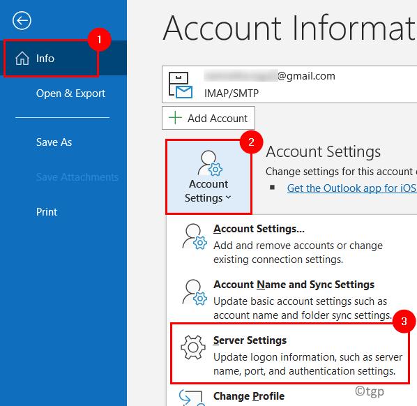Configuración mínima del servidor de contabilidad de Outlook