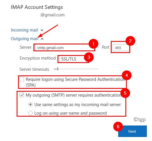 Configuración mínima del correo saliente de Outlook Imao
