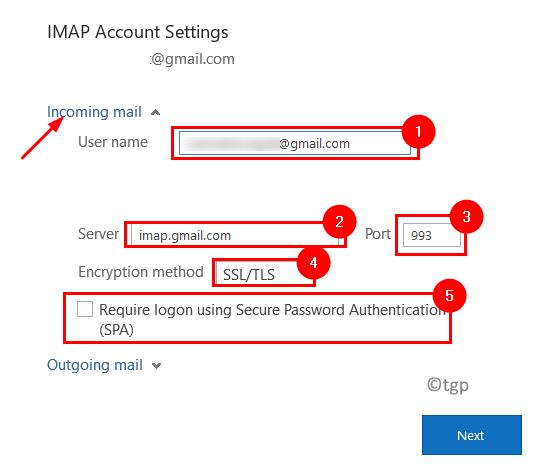 Configuración mínima de correo entrante de Outlook Imap