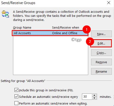 Grupos de recepción de envío de Outlook Mínimo