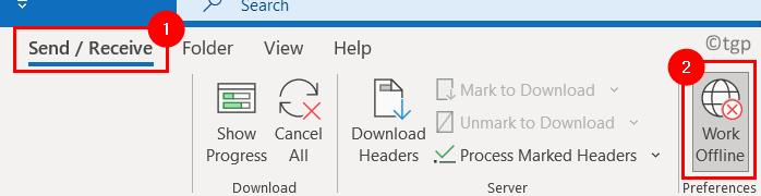 Outlook Enviar Recibir Trabajo Fuera de Línea Mínimo