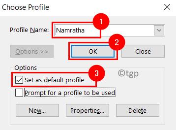 Outlook Elija el perfil mínimo