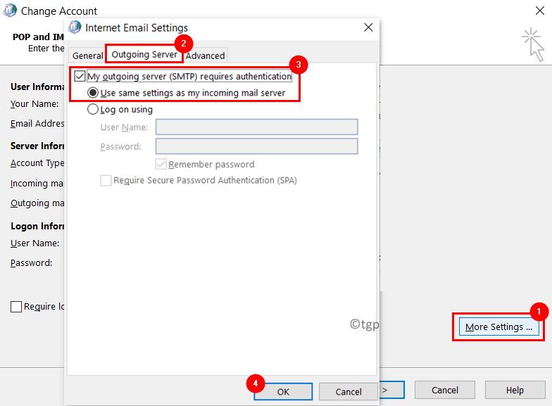Cambiar cuenta Más configuraciones Servidor saliente Mín.