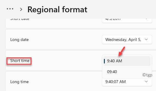 Formato regional Tiempo corto Seleccionar formato de 12 o 24 horas