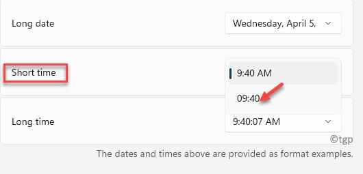 Formato regional Selección de tiempo corto Formato de 24 horas