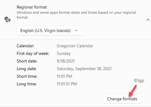 Regional Format Change Formats Min