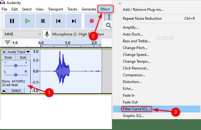 Eq de curva de filtro del efecto Audacity Min