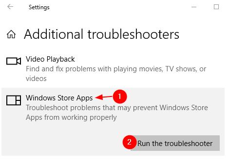 Solucionador de problemas de aplicaciones de la Tienda Windows