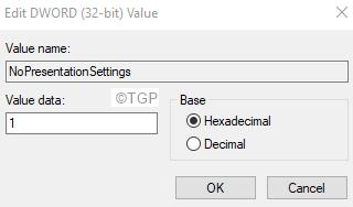 Configuración de presentación de Editdword