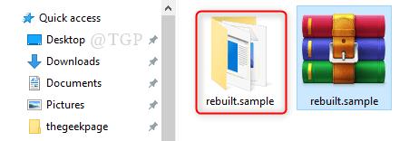 Mínimo de archivo de archivo reconstruido extraído