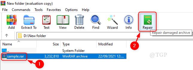 Reparar archivo archivado mínimo