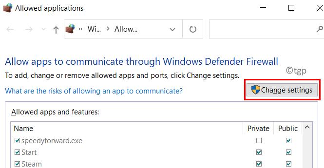 Aplicaciones permitidas por firewall Cambiar configuración Mín.