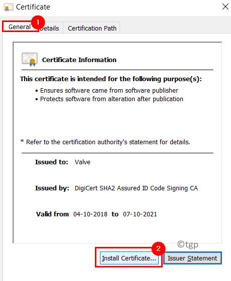 Instalar certificado mínimo