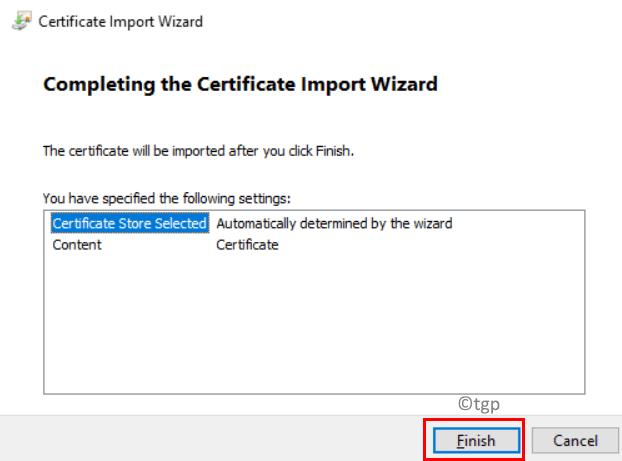 Finalizar importación de certificado mínimo