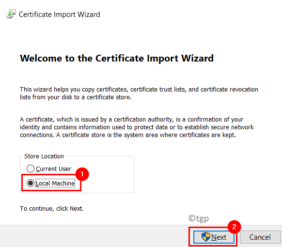 Asistente de importación de certificados Máquina local Mín.