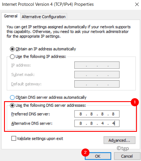 Servidor DNS alternativo preferido Ipv4 Mínimo