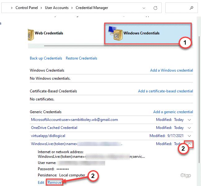Mínimo de credenciales de Windows