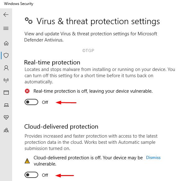 Configuración de protección contra virus y amenazas