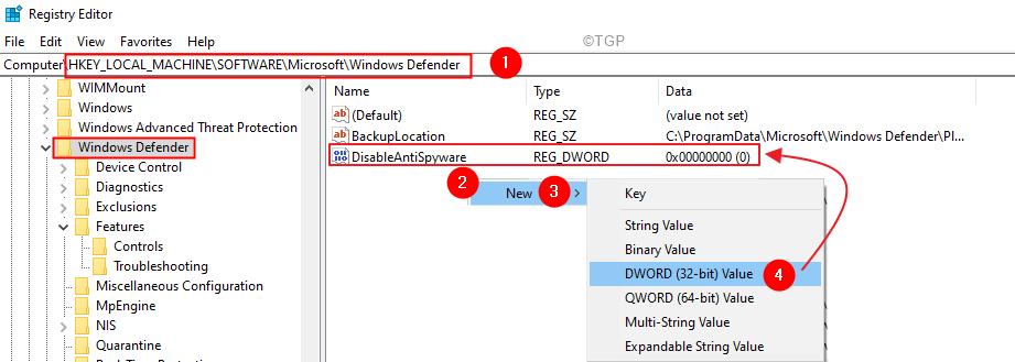 Clave de registro Windows Defender