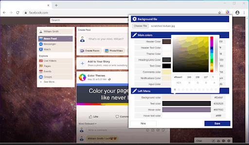 Temas y versión antigua de la extensión de Facebook para Chrome