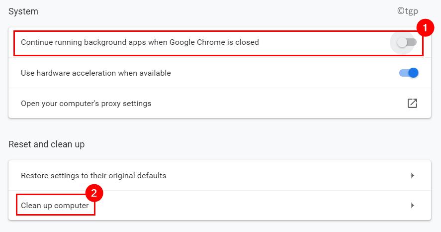 Sistema Chrome Desactiva la limpieza de la computadora Mín.
