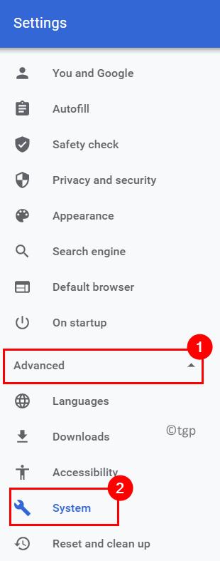 Configuración de Chrome Sistema avanzado Mín.
