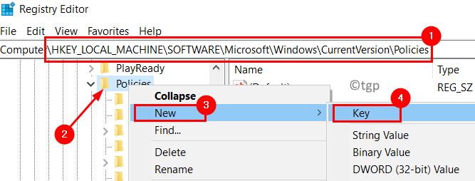 Registro Windows Políticas de versión actual Nueva clave Mín.