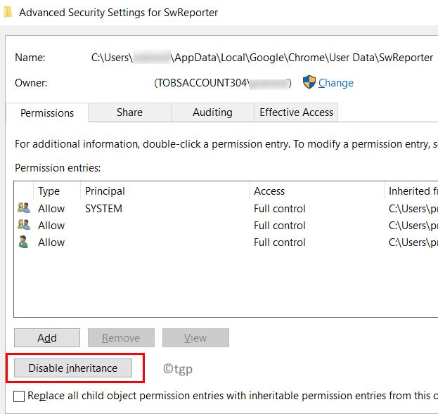 Configuración de seguridad avanzada Desactivar herencia mínima