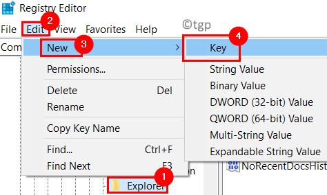Explorer Key Nueva clave Mín.
