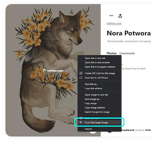 La práctica opción de clic derecho de Larger Image Finder para imágenes en Pinterest