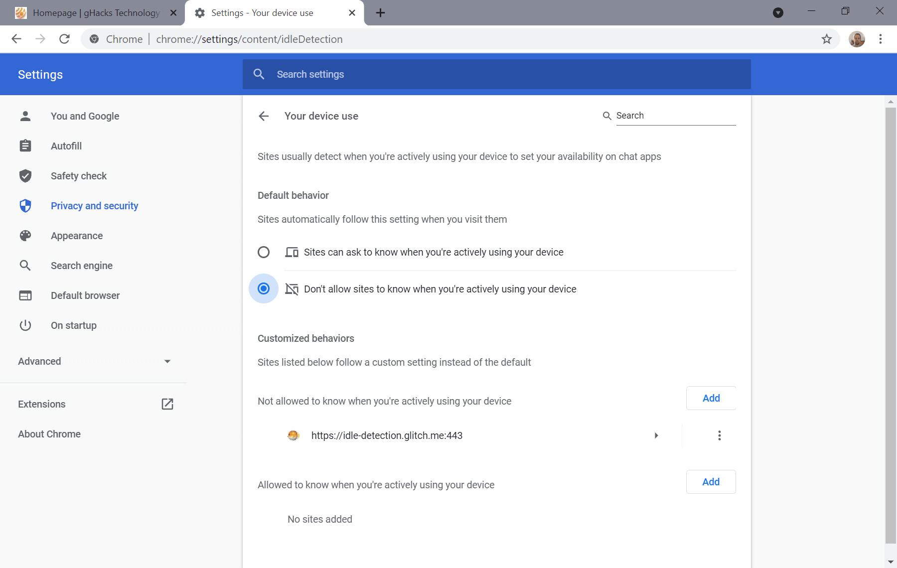 Chrome deshabilita la api de detección inactiva