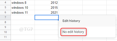 Sin historial de edición de celda Hojas de cálculo de Google