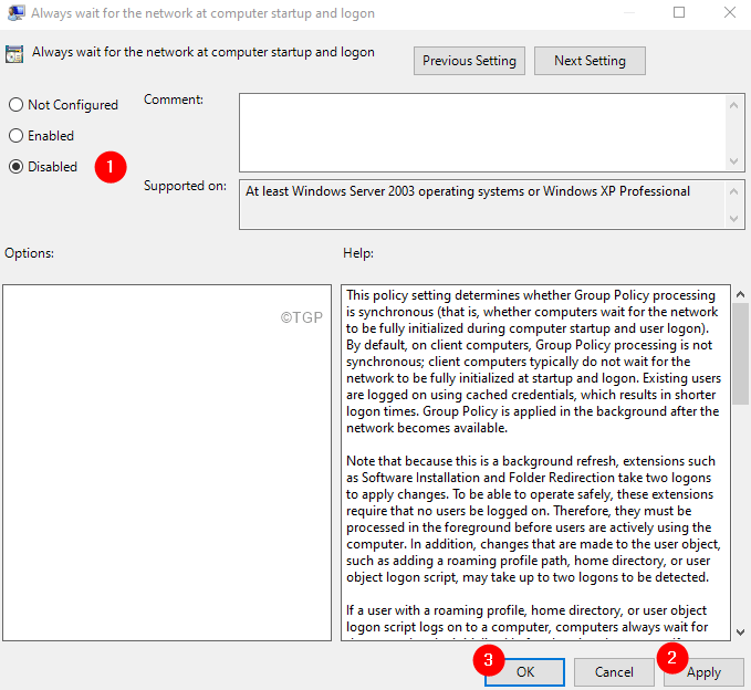 Desactivar la política de grupo mínima