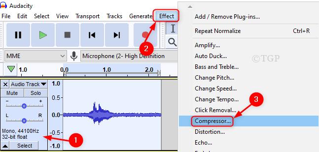 Compresor de Effect Audacity Min