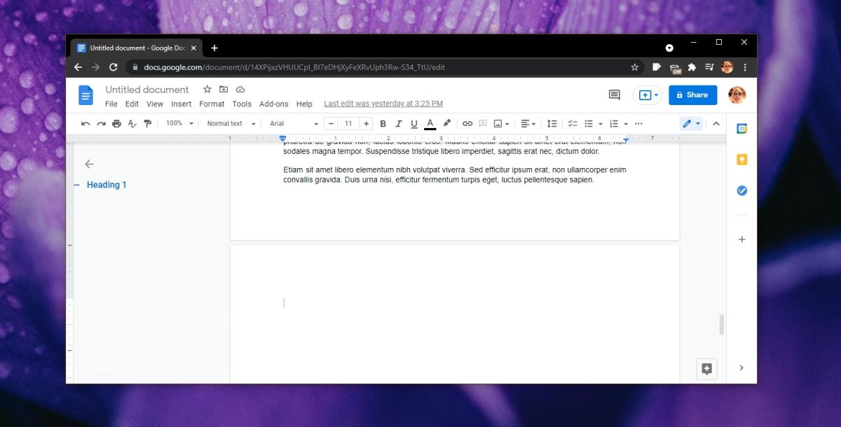 Eliminar una página en blanco en Documentos de Google