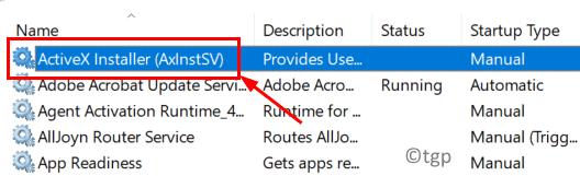 Mínimo de servicio Activex