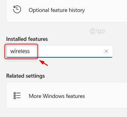 Búsqueda inalámbrica en funciones instaladas Win11